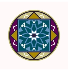 Mandala tattoo colored icon Geometric round vector image