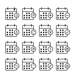 minimal collection calendar outline icons vector image