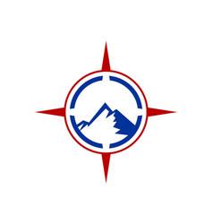 Mountain compass logo icon vector