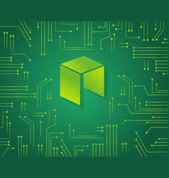 Neo bitcoin on green background vector