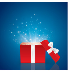 opened realistic gift box with bow and abstract vector image