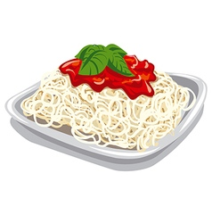 Pasta with tomato sauce vector
