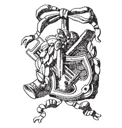 Pilaster panel symbol is a lyre vintage engraving vector