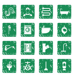 Plumbing icons set grunge vector