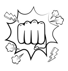 Pop art hand punch cartoon in black and white vector