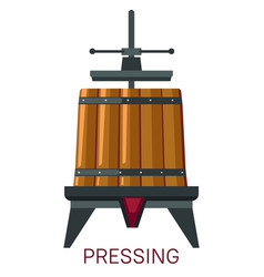 pressing grapes mechanism barrel and machine vector image