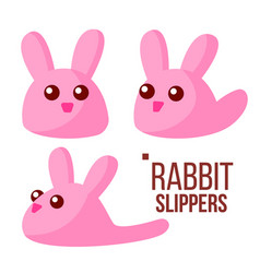 rabbit slippers pink female home footwear vector image