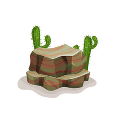 rock stone and cacti design element of natural vector image