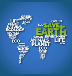 save the earth paper art typography poster vector image