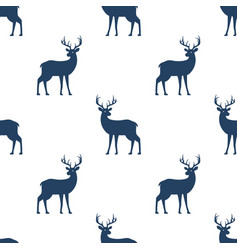 seamless pattern with deer on white background vector image