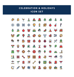 set celebration and holidays icon with filled vector image