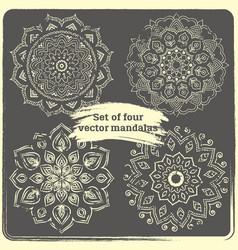 set of 4 hand drawn mandalas vector image