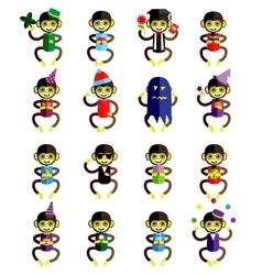 Set of funny monkey icons cartoon isolated on vector image
