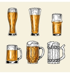 Set of icons full glass beer vector