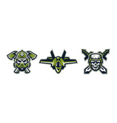 set of logos on military themes a skull in a gas vector image