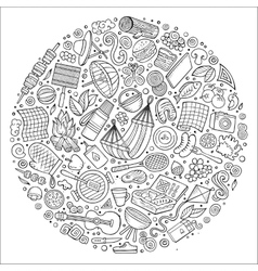 Set of Picnic cartoon doodle objects symbols and vector image