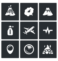 Set of Volcano Icons Eruption Smoke Hill vector image