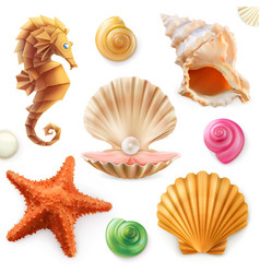 Shell snail mollusk starfish sea horse 3d icon set vector