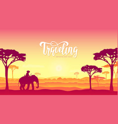 Silhouette african elephants with man walking on vector