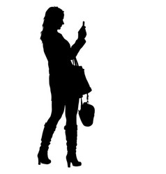 Silhouettes woman taking selfie with smartphone on vector