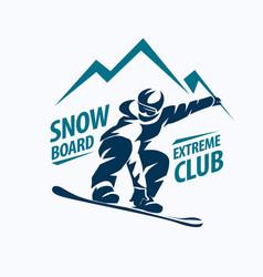 Snowboarding stylized symbol silhouette logo vector