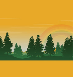 Spruce and rainbow landscape silhouettes style vector