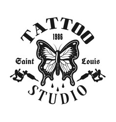 tattoo studio emblem with butterfly vector image
