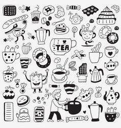 Tea and coffee cups - doodles set vector
