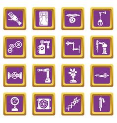 Technical mechanisms icons set purple square vector