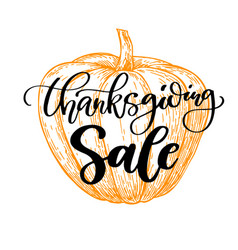thanksgiving day sale card with handwritten vector image