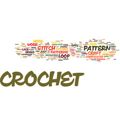The craft of crochet text background word cloud vector