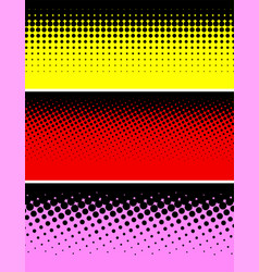 three bright abstract dotted halftone backgrounds vector image