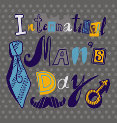 Tie mens day concept background hand drawn style vector