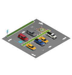 transport parking isometric composition vector image