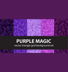 Triangle pattern set purple magic geometric vector