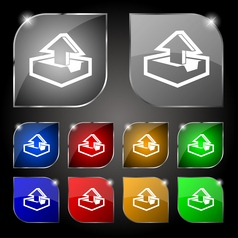 Upload icon sign Set of ten colorful buttons with vector image