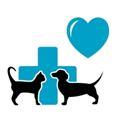 veterinarian symbol with cat and dog dachshund vector image