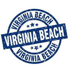 Virginia beach blue round grunge stamp vector