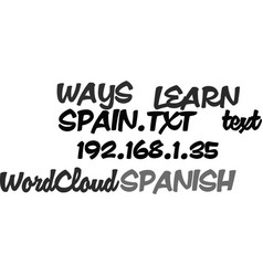 Ways to learn spanish in spain text word cloud vector