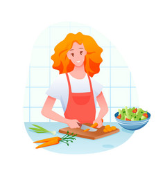 young girl cutting carrot cooking green vegetable vector image