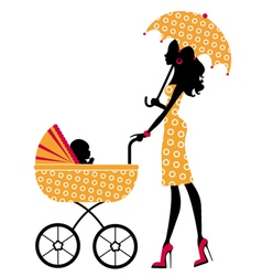 Chick mom with pram vector image