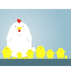 cute big fat white hen and chicken vector image vector image