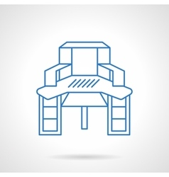 Sewing table blue flat line icon vector image vector image