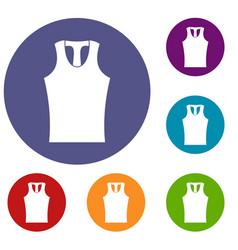 Sleeveless shirt icons set vector