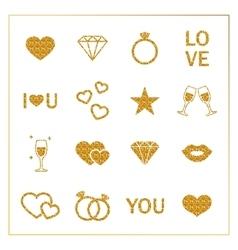 Valentine s day golden glitter design elements set vector