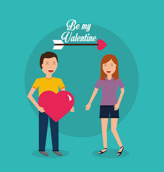 be my valentine happy couple together - man vector image