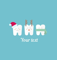 funny teeth and New Year vector image
