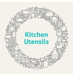 Kitchen Utensils Line Art Icons Set Circle vector image