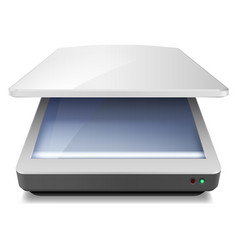 opened office scanner on white background vector image vector image