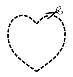 cut out heart vector image vector image
